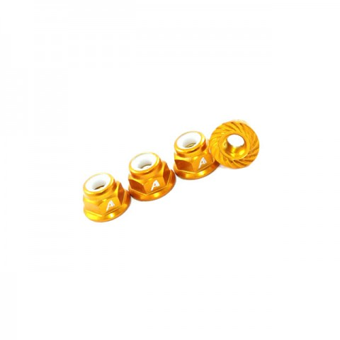 Answer RC 1/10th 4mm Shaft 7075 Nyloc Gold Wheel Nut, Serrated Face (Pack of 4 Nuts) - ANSWN01104-GL