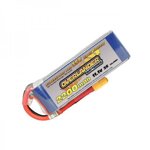 Overlander Supersport LiPo Battery 2200mAh 3S 11.1v 35C with XT60 Connector Fitted - OL-2646