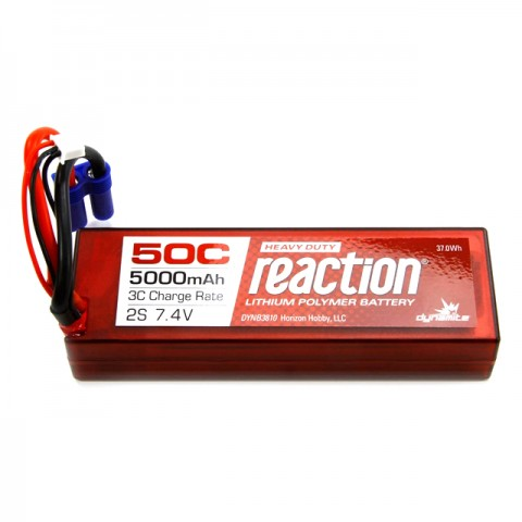 Dynamite Reaction Hardcase 7.4V 5000mAh 2S 50C LiPo Battery with EC5 Connector - DYNB3810EC
