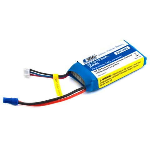 E-flite 1300mAh 2S 7.4v 20C LiPo Battery with EC2 Connector - EFLB13002S20