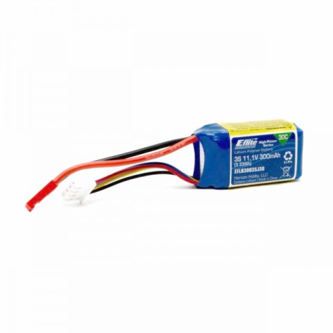 E-flite 11.1v 300mAh 3S 30C LiPo Battery with JST Connector - EFLB3003SJ30