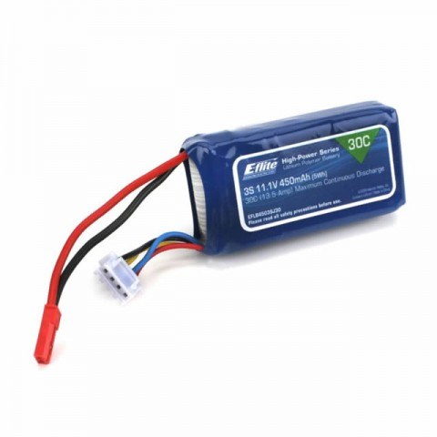 E-flite 450mAh 3S 11.1V 30C LiPo Battery with JST Connector - EFLB4503SJ30