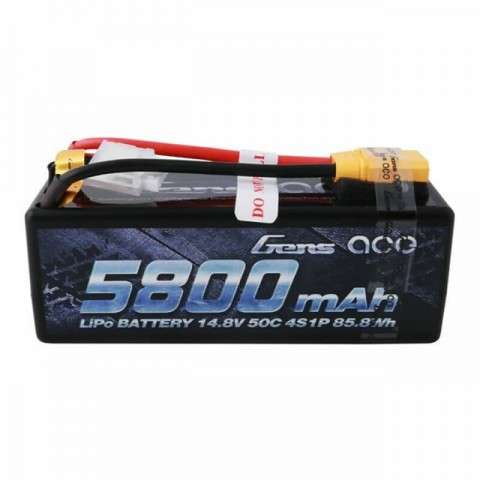 Gens Ace 5800mAh 14.8V 50C 4S1P Hardcase LiPo Battery XT-90 Connector - GC4S5800-50