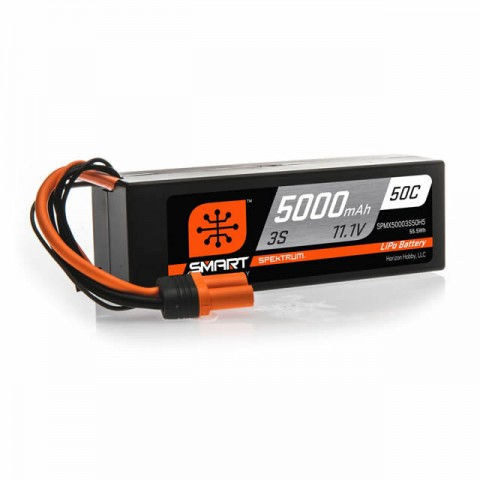 Spektrum 3S 11.1v 5000mAh 50C Smart LiPo Hard Case Battery Pack with IC5 Connector - SPMX50003S50H5