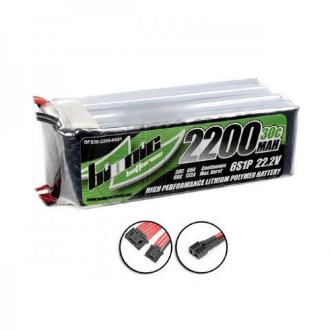 Bionic 6S 22.2v 30C 2200mAh LiPo Flight Battery with Deans Connector - BFS30-2200-0601