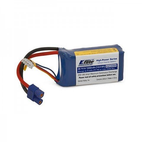 E-flite 1300mAh 3S 11.1v 20C LiPo Battery with EC3 Connector - EFLB13003S20