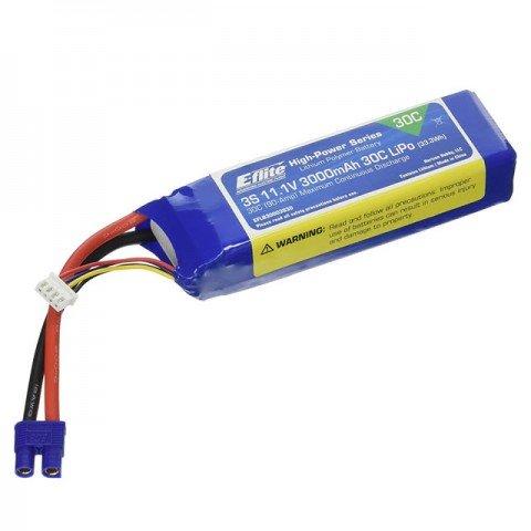 E-flite 3000mAh 3S 11.1V 30C LiPo Battery with EC3 Connector - EFLB30003S30