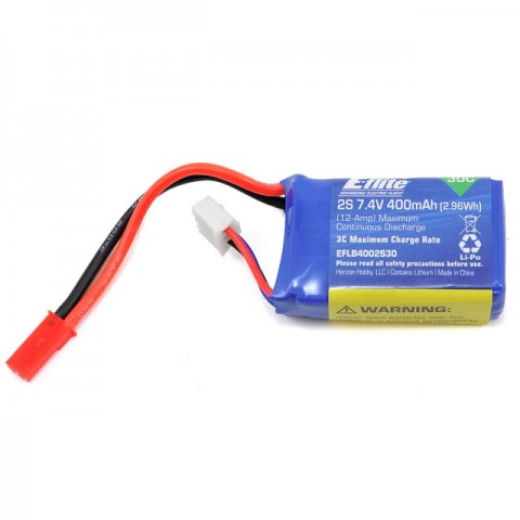 E-flite 400mAh 30C 2S 7.4v LiPo Battery Pack with JST Connector - EFLB4002S30