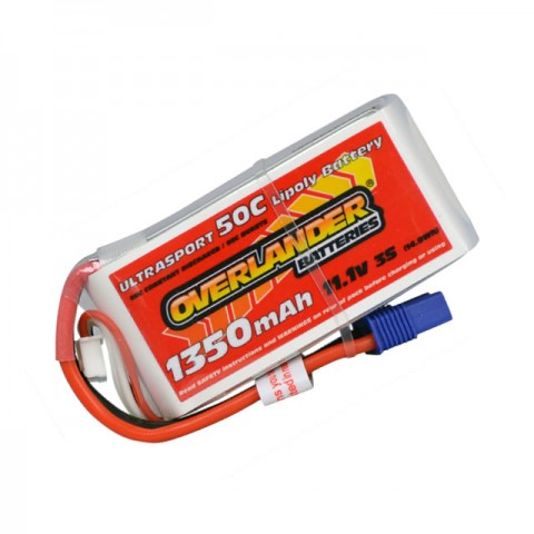 Overlander 1350mAh 3S 11.1v 50C LiPo Upgrade Battery for 300X Heli and Super Cub LP Plane - OL-2536