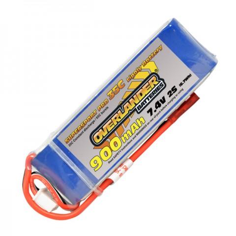 Overlander Supersport Pro 900mAh 2S 7.4v 35C LiPo Battery - OL-2558