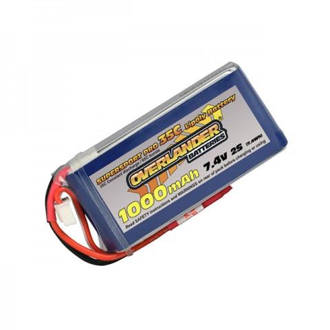 Overlander Supersport 1000mAh 2S 7.4v 35C LiPo Battery (No Connector) - OL-2560