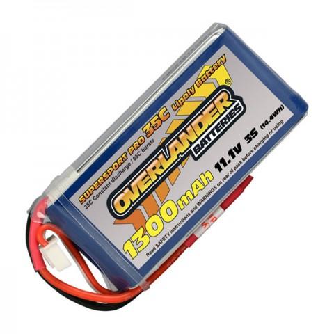Overlander 1300mAh 11.1v 3S 35C Supersport Pro LiPo Battery with Deans Connector - OL-2563