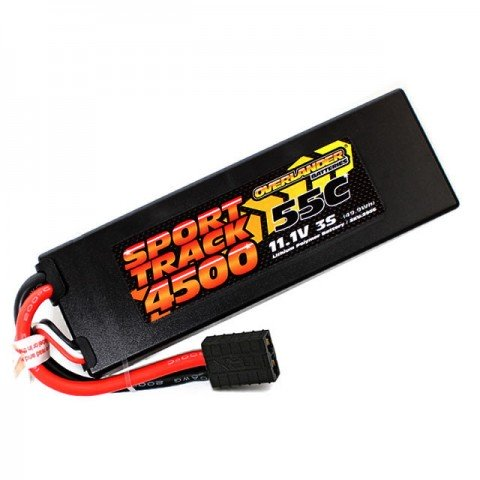 Overlander Sport Track 4500mAh 3S 11.1v 55C LiPo Battery in Hard Case with Traxxas Connector - OL-2956TRX