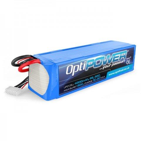 Optipower 4300mAh 22.2v 6S 30C LiPo Battery - OPR43006S