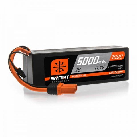 Spektrum 3S 11.1v 5000mAh 100C Smart LiPo Hard Case Battery Pack with IC5 Connector - SPMX50003S100H5