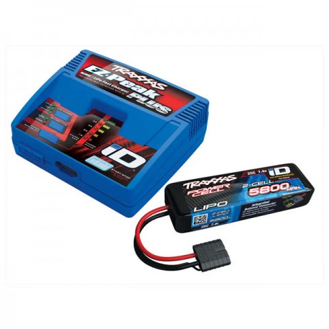 Traxxas EZ-Peak Plus 4A LiPo/NiMh ID Charger and 2843X 2S 7.4v 5800mAh LiPo Battery - TRX2970T-2S58