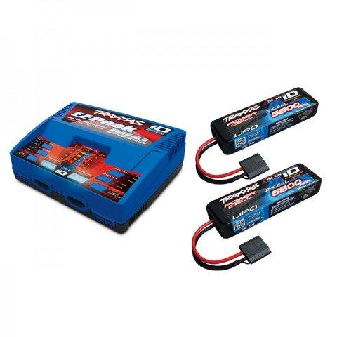 Traxxas EZ-Peak Dual 8A LiPo/NiMh ID Charger and 2 x 2843X 2S 7.4v 5800mAh LiPo Batteries - TRX2972T-4S58