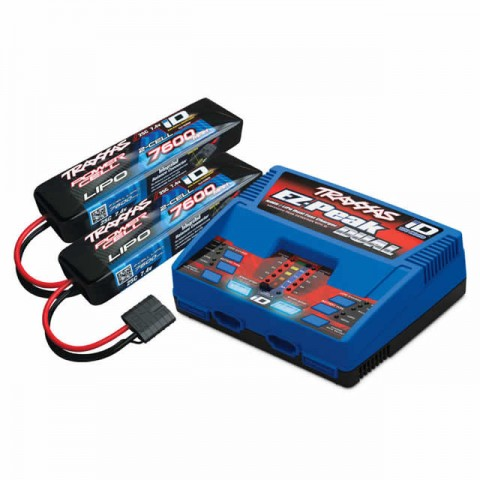 Traxxas Dual ID Battery Charger (2972T) with 2 x 2S 7.4v 7600mAh LiPo Batteries (2869X) - TRX2991T
