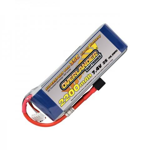 Overlander Supersport 2200mAh 2S 7.4V 35C LiPo Battery with Deans Plug - OL-2566