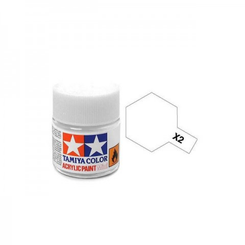 Tamiya Mini X-2 Gloss White Acrylic Paint 10ml Bottle - 81502