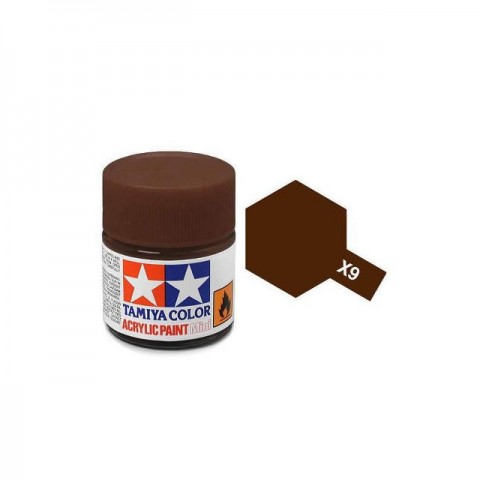 Tamiya Mini X-9 Gloss Brown Acrylic Paint 10ml Bottle - 81509