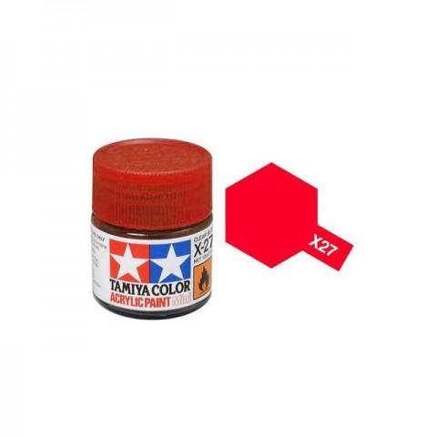 Tamiya Mini X-27 Clear Red Acrylic Paint 10ml Bottle - 81527