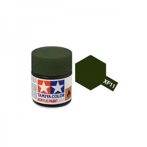 Tamiya Mini XF-11 Flat JN Green Acrylic Paint 10ml Bottle - 81711