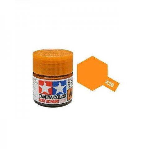 Tamiya Mini X-26 Clear Orange Acrylic Paint 10ml Bottle - 81526