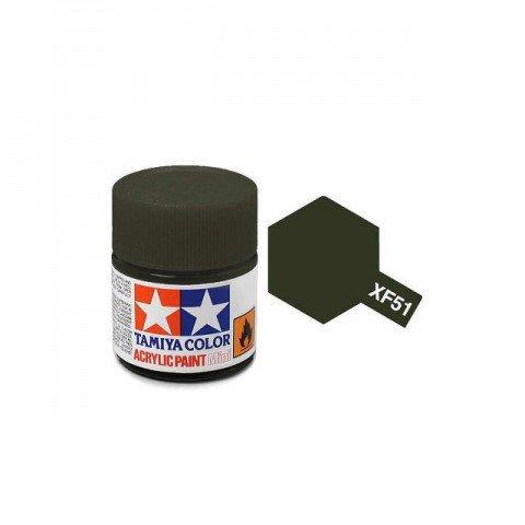 Tamiya Mini XF-51 Flat Khaki Drab Acrylic Paint 10ml Bottle - 81751