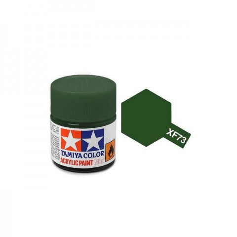 Tamiya Mini XF-73 Flat JGSDF Dark Green Acrylic Paint 10ml Bottle - 81773