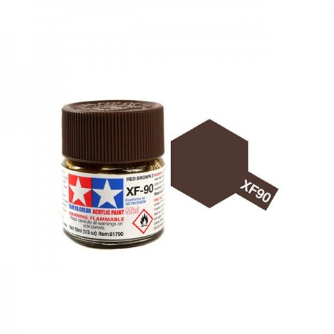 Tamiya Mini XF-90 Flat Red Brown 2 Acrylic Paint 10ml Bottle - 81790