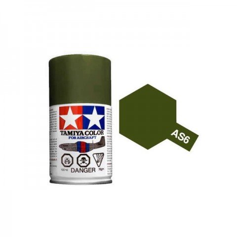 Tamiya AS-6 Olive Drab (USAAF) 100ml Spray Paint for Scale Models - AS86506