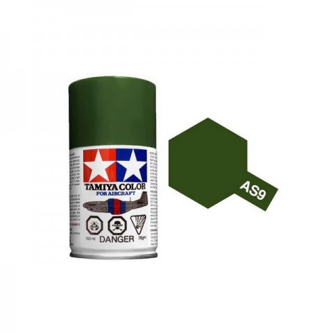 Tamiya AS-9 Dark Green (RAF) 100ml Spray Paint for Scale Models - AS86509