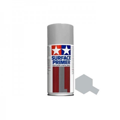 Tamiya 180ml Surface Primer Spray for Plastic and Metal (Grey) - TAM-87042