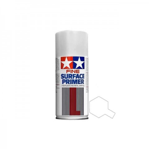 Tamiya 180ml Fine Surface Primer Spray for Plastic and Metal (White) - TAM-87044