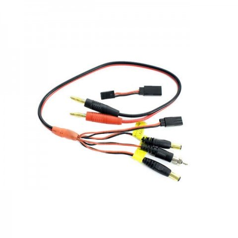 Logic RC Charge Lead 4mm Connector to Glow Clip, Bec, JR, Futaba and TX Connectors - LGL-CLMIC