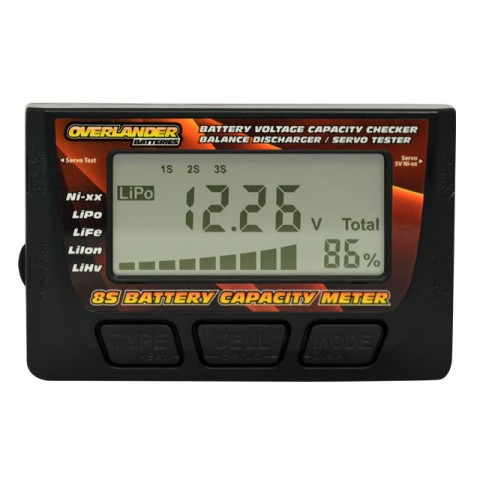 Overlander 8S LiPo Battery Capacity Meter Voltage Checker, Balance Discharger and Servo Tester - OL-3250