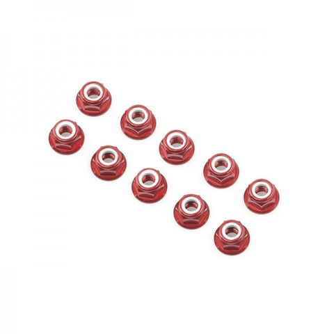Ansmann Racing Red Aluminium Nylon Nut 3mm (10 Nuts) - 203000018