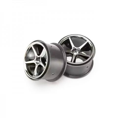Traxxas 1/16 E-Revo Black Chrome Gemini Wheels (Set of 2) - TRX7172A