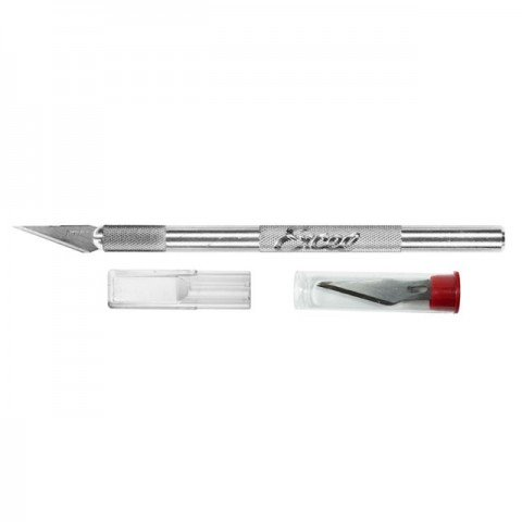 Excel K1 Knife Light Duty Round Aluminium with Safety Cap 5 x Number 11 Blades - EXL15001