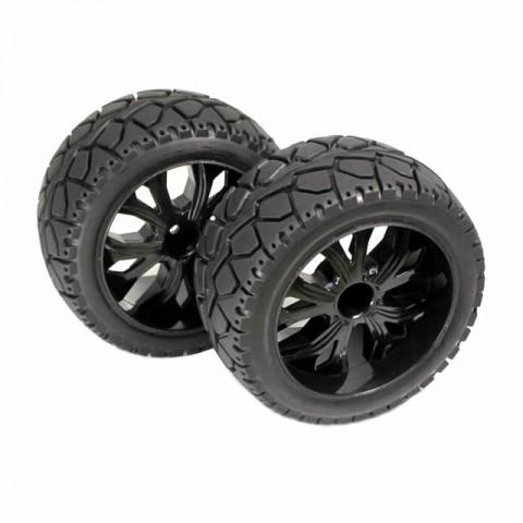 Absima 1/10 Truggy On-Road Tyres Glued on Black Wheels (Pack of 2 Rear Wheel Sets) - 2500014