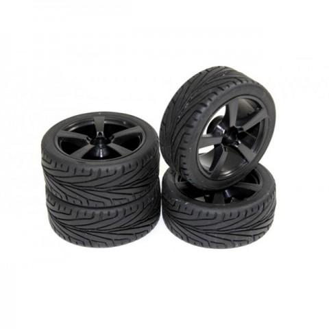 Absima 1/10 5 Spoke Wheel and Tyre Set On-Road 12mm Hex Black (Pack of 4 Wheels) - 2510006