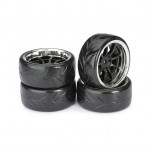 Absima 1/10 9 Spoke Drift Wheel and Tyre Set with 12mm Hex Black/Chrome (Pack of 4) - 2510044
