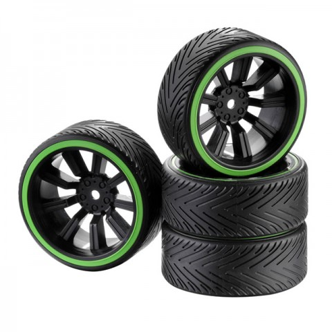 Absima 1/10 Drift Wheel and Tyre Set 9-Spoke Profile A Green (Set of 4) - 2510049