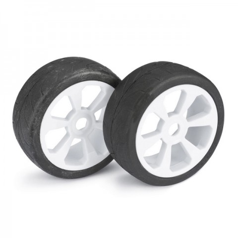 Absima 1/8 Street 6 Spoke 17mm White Wheel and Tyre Set (Pack of 2 Wheels) - 2530007