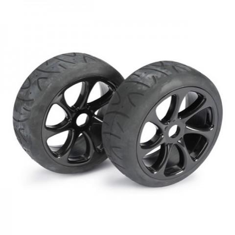 Absima 1/8 Street 7 Spoke 17mm Black Wheel and Tyre Set (Pack of 2 Wheels) - 2530010