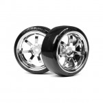 HPI Racing T-Drift Chrome Wheel and Tyre Set 26mm width - 0mm offset (Set of 2 Wheels) - 4739