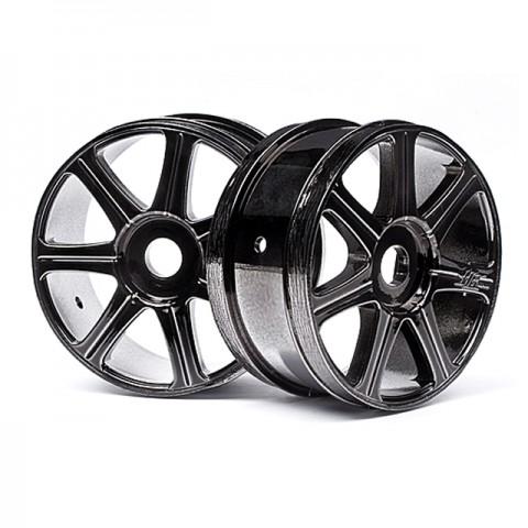 Hot Bodies Edge 1/8 Black Chrome 7 Spoke 17mm Hex Wheel (Pack of 2 Wheels) - 67768