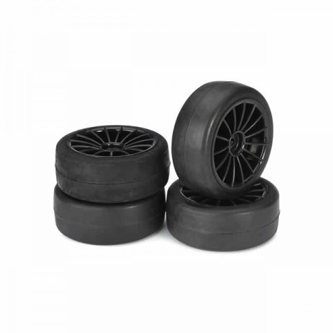 Absima 1/10 20 Spoke Wheel and Tyre Set On-Road Slick 12mm Hex Black (Pack of 4 Wheels) - ABS2510001