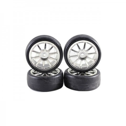 Fastrax 10-Spoke 1/10 Chrome Touring Car Wheels and Slick Tyres (Set 0f 4) - FAST379